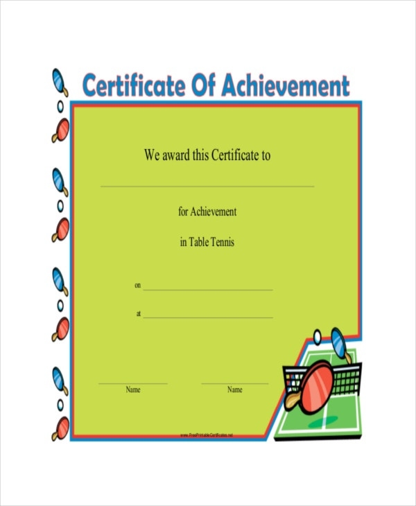table tennis certificate template