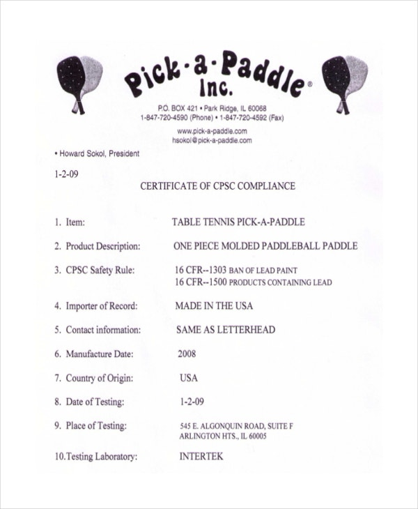 Paddle Table Tennis Certificate