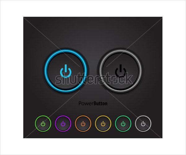 black power buttons with led light