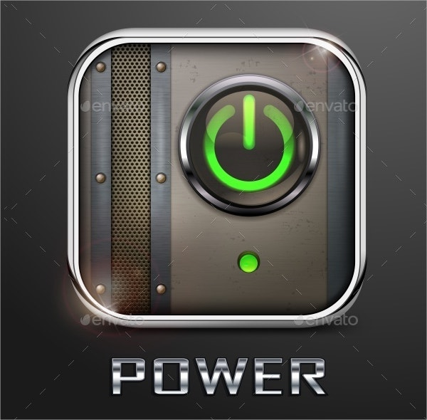 Mettallic Icon Power Button