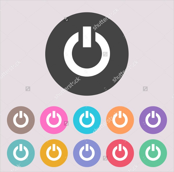 Coloured Power Icon Buttons