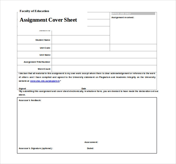 sample assignment cover page template
