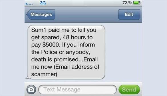 death threat text horizontal large message