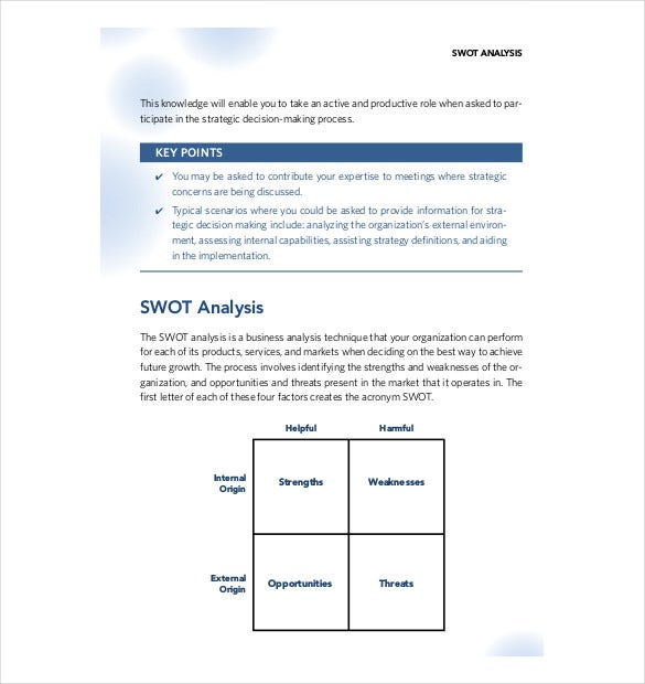 format for swot analysis