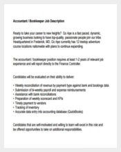 Accountant Bookkeeper Example Job Description Free