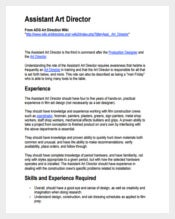 Assistant Art Director Sample Job Description PDF Free