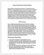 Associate Financial Advisor Job Description PDF Format