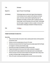 Bookkeepers Job Description Sample Word Free