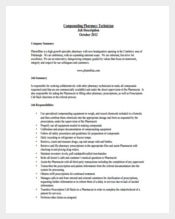 Compounding Pharmacy Technician Example Job