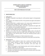 Education Program Manager Job Description Sample PDF