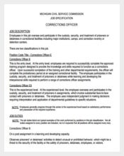 Ferderal Correction Officer Sample Job Description Free