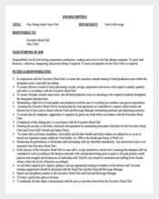 Fine Dining Junior Sous Chef Job Description PDF Format