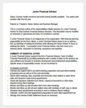 Junior Financial Advisor Job Description Sample Template