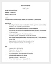 Office Administrative Assistant Job Description Free Word