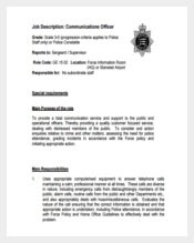 Police Communication Officer Job Description Free PDF