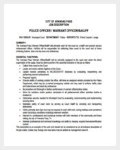 Police Warrant Officer Job Description Example Template