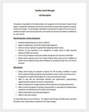 Quality Control Civil Engineer Job Description PDF Format