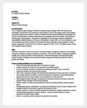 Regional Property Manager Job Description PDF Format