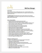 Restaurant Floor Manager Job Description Example