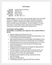 Sample Licensed Clinical Social Worker Job Description