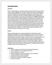 Senior Financial Advisor Job Description Example Template