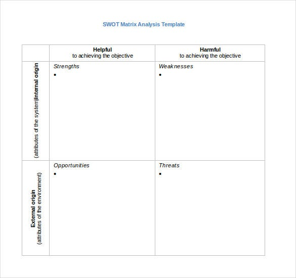 Nice Blank SWOT Matrix Analysis Word Template Download On Blank Swot Analysis Template