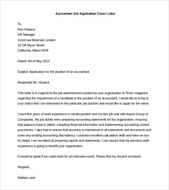 Accountant Job Application Cover Letter Template Word Doc  Free Cover Sheet