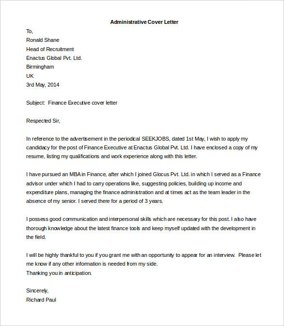 Administrative Cover Letter Template Editable Download  Cover Letter Format Pdf