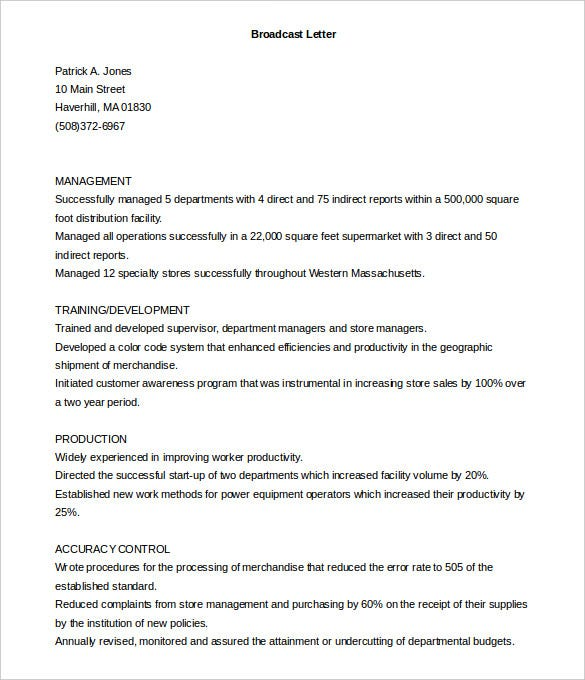printable broadcast cover letter template free download