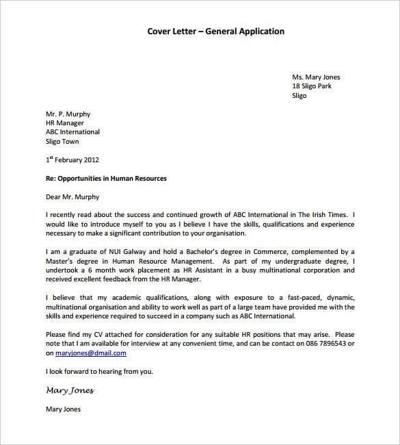 Nice General Application Cover Letter Template PDF Format Within Free Cover Letter Format