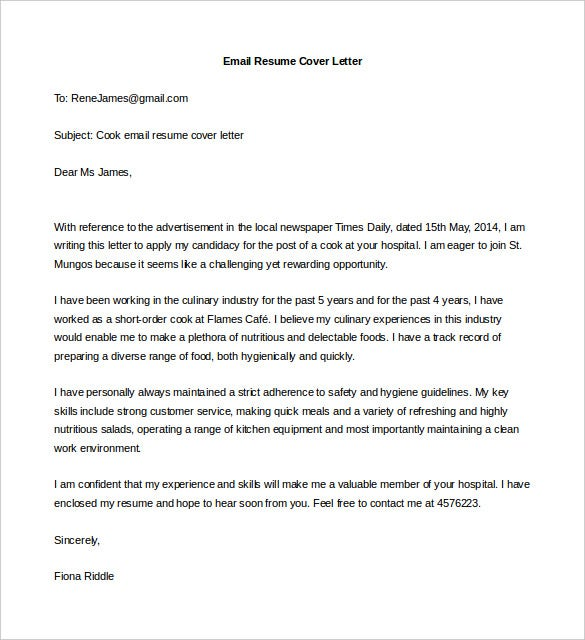 Email Cover Letter Impressive Idea Cover Letter Format For Resume