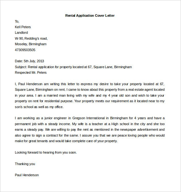 Editable Rental Application Cover Letter Template Download