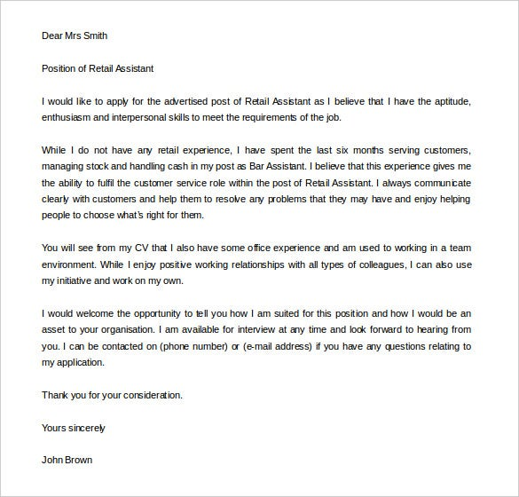 Free Cover Letter Template 52 Free Word PDF Documents – Retail Cover Letter Template