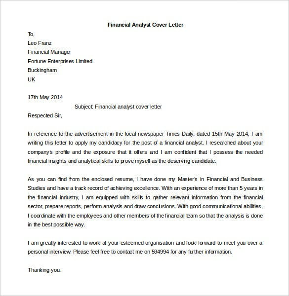 Financial Analyst Cover Letter Template Download