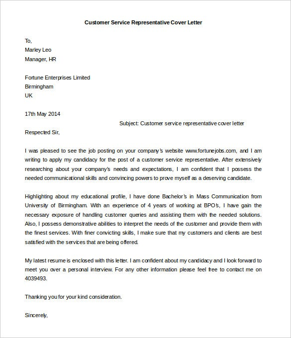 Download Customer Service Representative Cover Letter Template  Cover Letter Examples Customer Service Representative