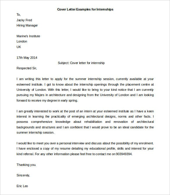Amazing Cover Letter Examples For Internships Free Word Download