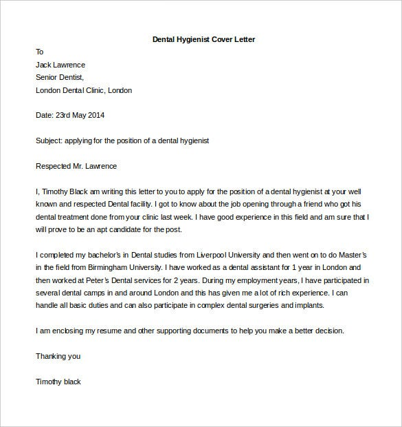 Dental Hygienist Cover Letter Template Free Word Format  Free Examples Of Cover Letters