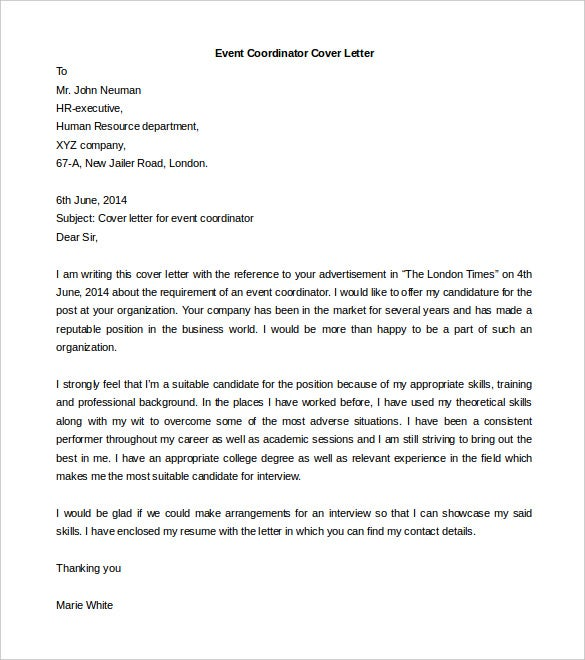 Format Of Business Cover Letter. Event Coordinator Cover Letter Template Download Free  59 Word PDF Documents