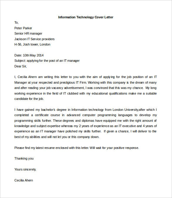 Captivating Information Technology Cover Letter Template Free Word Doc