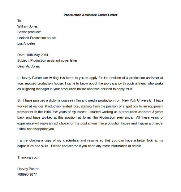cover letter format download 55 cover letter templates pdf ms word apple pages 21100 | Production Assistant Cover Letter Template Free Download