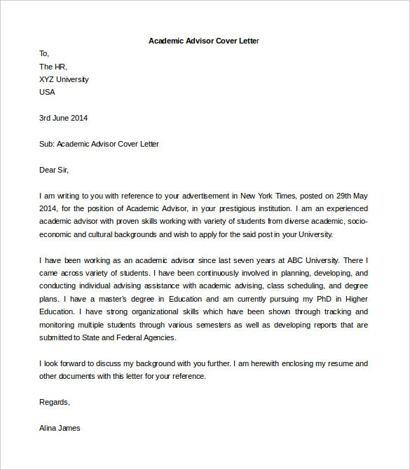 Academic Advisor Cover Letter Template Printable Word Format