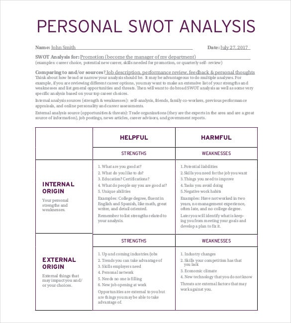 Personal Swot Analysis Template   Free Word Excel Pdf