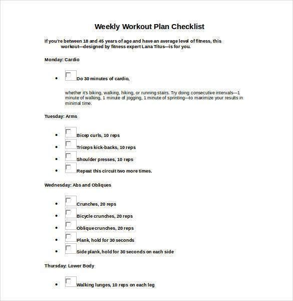 weekly workout plan checklist1