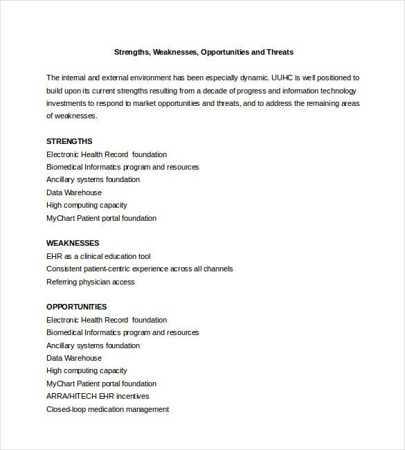 sample swot analysis for a hospital
