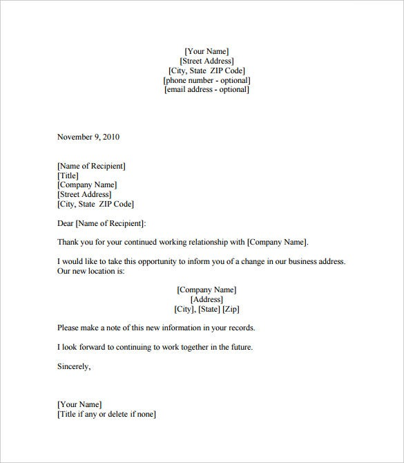 Business Letter Templates 18 Free Sample Example Format – Example Business Letter