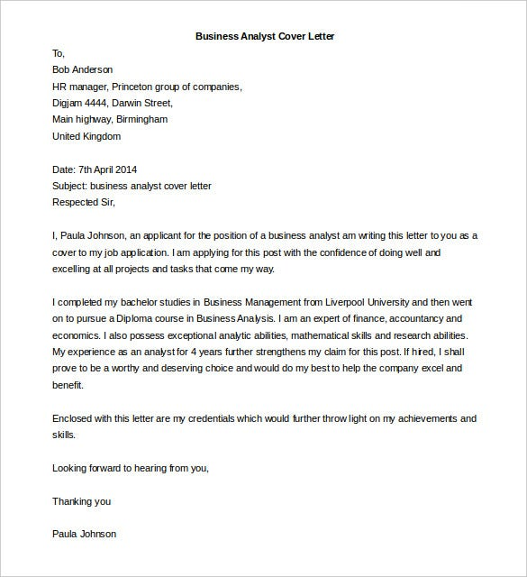 50 business letter template free word pdf documents free business analyst cover letter template word doc spiritdancerdesigns Images