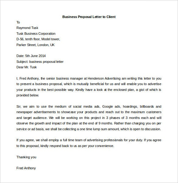 Good Business Proposal Letter To Client Word Sample