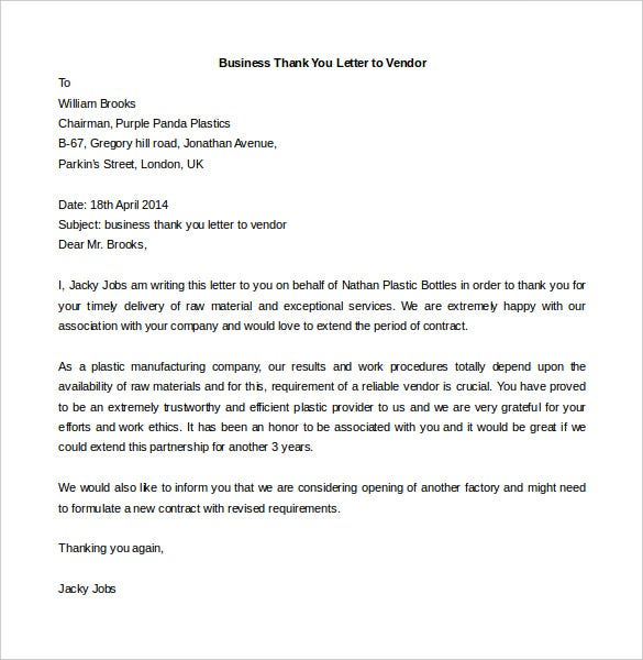 business thank you letter to vendor free download