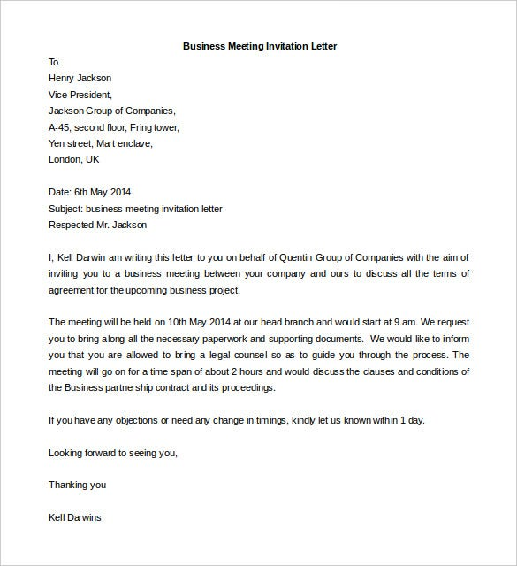 50 business letter templates pdf doc free premium for Meeting invite email template