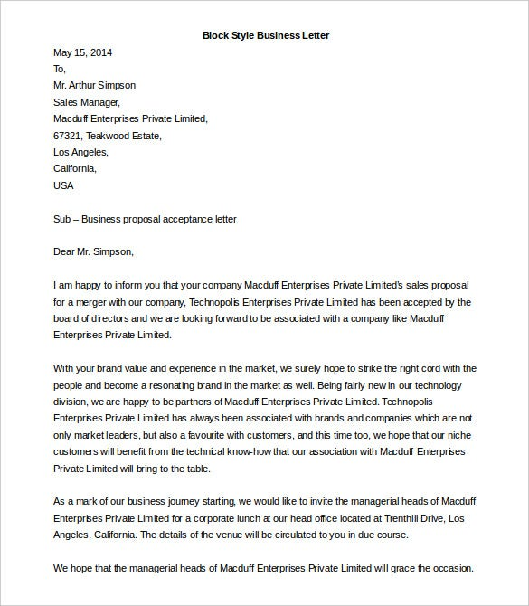 block style business letter template ms word download